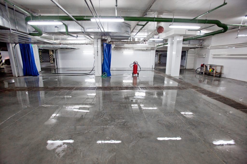 Inside of car wash with epoxy floor coating