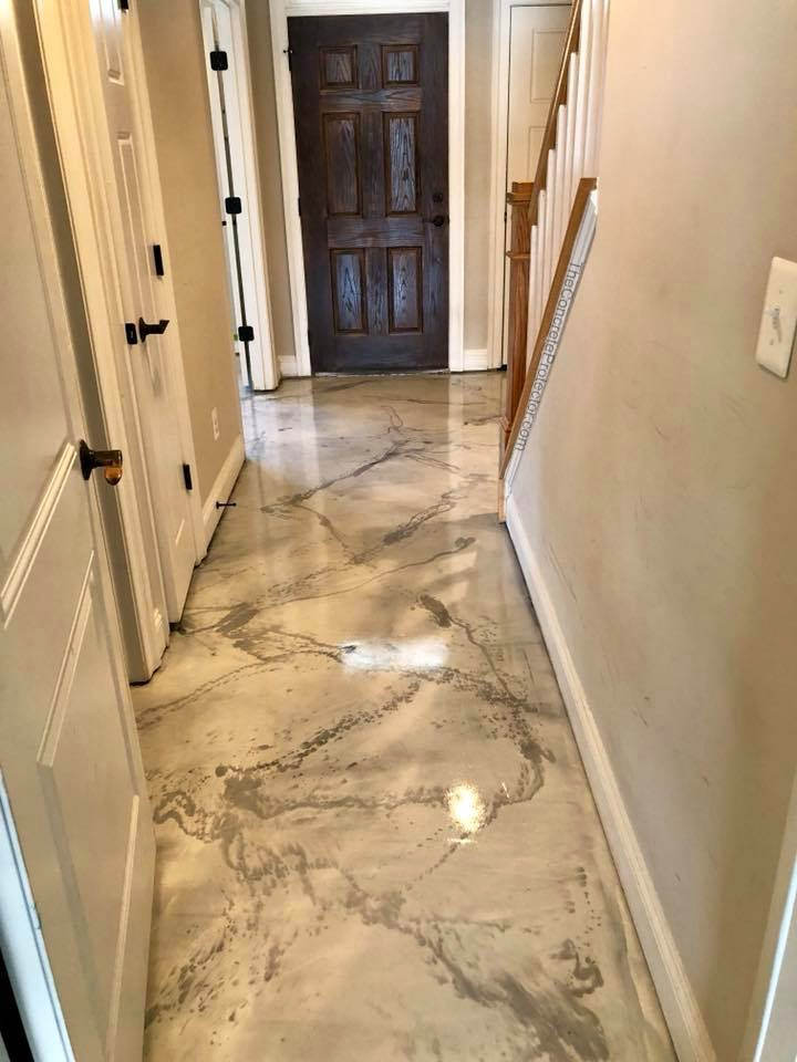 Italian marble epoxy floor in residential home